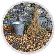 Autumn In The Garden Round Beach Towel