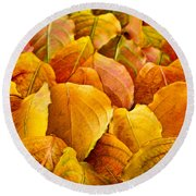 Autumn Leaves  Round Beach Towel by Elena Elisseeva