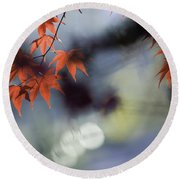 Autumn Red  Round Beach Towel