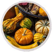 Autumn Still Life Round Beach Towel