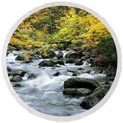 Autumn Stream 3 Round Beach Towel