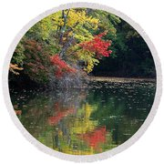 Autumn Tree Reflections Round Beach Towel
