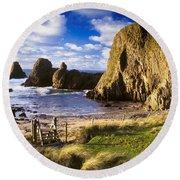 Ballintoy, County Antrim, Ireland Beach Round Beach Towel