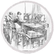Bank Note Printing Press Round Beach Towel