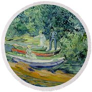Bank Of The Oise At Auvers Round Beach Towel