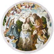 Baptism Of Christ Round Beach Towel