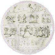 Baseball Cartoons, 1859 Round Beach Towel