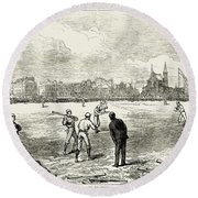 Baseball: England, 1874 Round Beach Towel