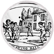 Baseball Game, 1820 Round Beach Towel
