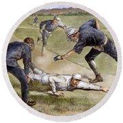 Baseball Game, 1885 Round Beach Towel