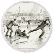 Baseball On Ice, 1884 Round Beach Towel
