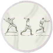 Baseball Pitching, 1889 Round Beach Towel
