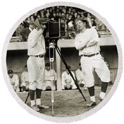 Baseball Players, 1920s Round Beach Towel