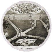 Baseball Polka, 1867 Round Beach Towel
