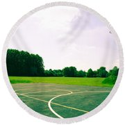 Basketball Court Round Beach Towel