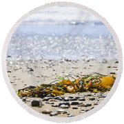 Beach Detail On Pacific Ocean Coast Round Beach Towel by Elena Elisseeva