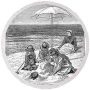 Beach Scene, 1879 Round Beach Towel