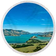 Beautiful Summer Day View Into The Akaroa Harbour Round Beach Towel