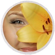 Beautiful Young Woman With A Yellow Lily Round Beach Towel by Oleksiy Maksymenko