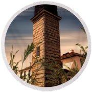 Beavertail Lighthouse Round Beach Towel