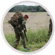Belgian Paratroopers Red Berets Round Beach Towel by Luc De Jaeger