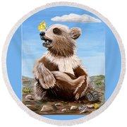 Ben Bear And Butterfly Round Beach Towel