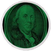 Ben Franklin In Dark Green Round Beach Towel