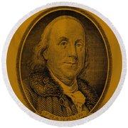 Ben Franklin In Orange Round Beach Towel