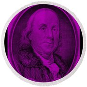 Ben Franklin In Purple Round Beach Towel