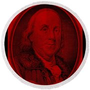 Ben Franklin In Red Round Beach Towel