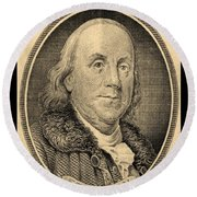 Ben Franklin In Sepia Round Beach Towel
