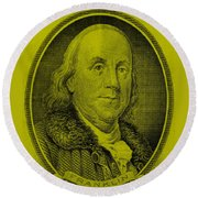 Ben Franklin In Yellow Round Beach Towel