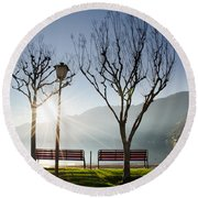 Bench And Trees Round Beach Towel
