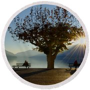 Benches And Trees Round Beach Towel