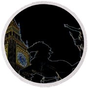 Big Ben And Boudica Round Beach Towel