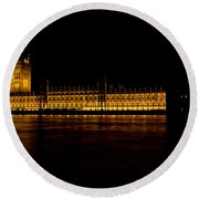 Big Ben And Houses Of Parliament Round Beach Towel