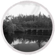 Big Sky On The North Fork River In Black And White Round Beach Towel