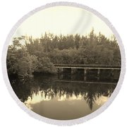 Big Sky On The North Fork River In Sepia Round Beach Towel