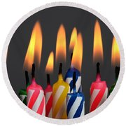 Birthday Candles Round Beach Towel