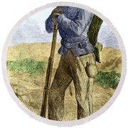 Black Civil War Soldier Round Beach Towel