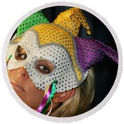 Blond Woman With Mask Round Beach Towel by Henrik Lehnerer