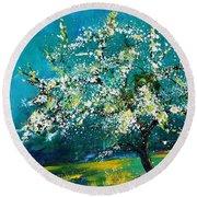 Blooming Appletree Round Beach Towel