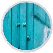 Blue Door Round Beach Towel by Tom Gowanlock