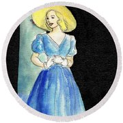 Blue Gown Round Beach Towel