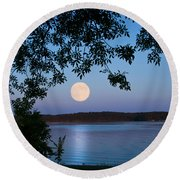Blue Moon Of August  Round Beach Towel