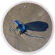 Blue On The Beach Round Beach Towel