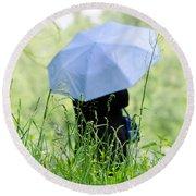 Blue Umbrella Round Beach Towel