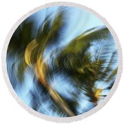 Blurred Palm Trees Round Beach Towel
