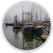 Boat Reflections Round Beach Towel