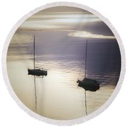 Boats In Mist Round Beach Towel